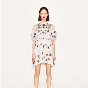 NWT Zara Floral Embroidered Tiered Ruffle Dress